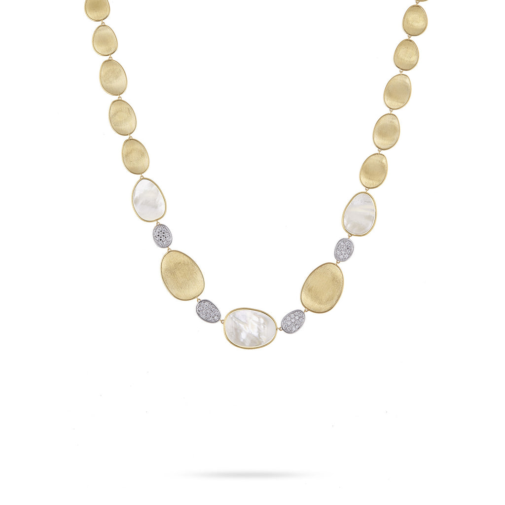 Lunaria White Mother of Pearl & Diamond Pave Small Single Station Necklace