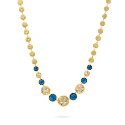 Marco Bicego® Jaipur Collection 18K Yellow Gold London Blue Topaz and Diamond Collar Necklace