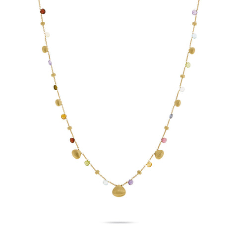 Paradise Mixed Stone and Gold Teardrop Necklace