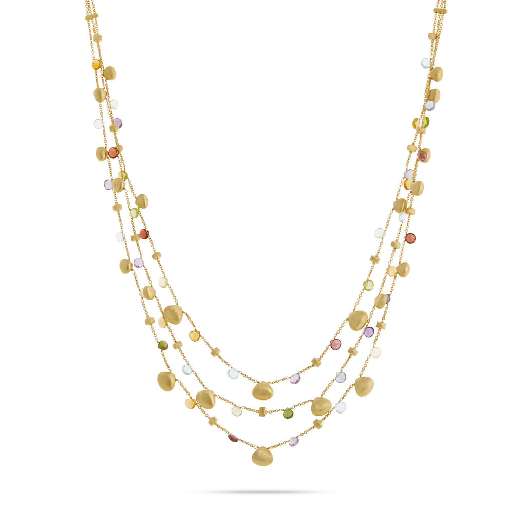 Paradise Mixed Stone and Gold Teardrop Three Strand Necklace