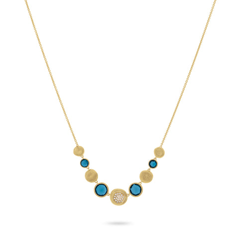 Jaipur London Blue Topaz with Diamond Graduated Necklace