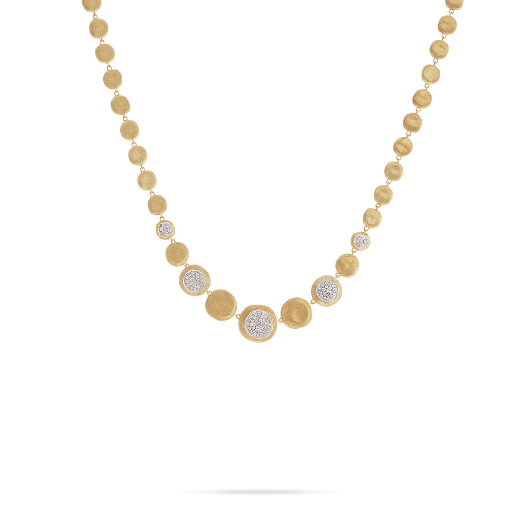 Marco Bicego® Jaipur Collection 18K Yellow Gold and Diamond Graduated Necklace