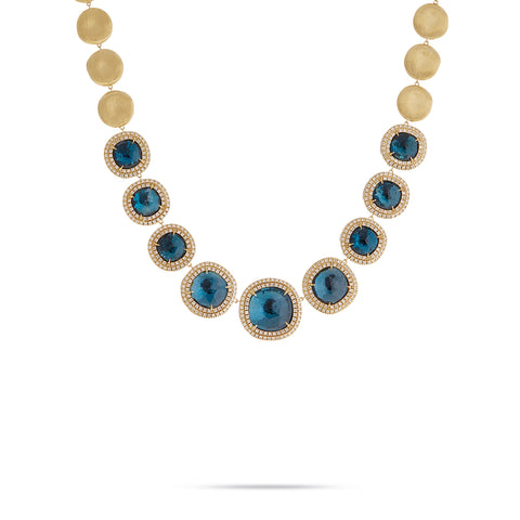 Marco Bicego® Jaipur Color Collection 18K Yellow Gold London Blue Topaz and Diamond Necklace