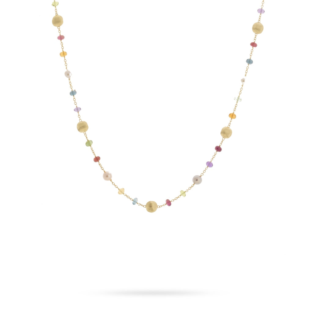 Marco Bicego® Africa Collection 18K Yellow Gold Mixed Gemstone and Pearl Short Necklace