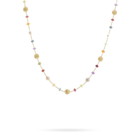 Africa Gemstone 18K Yellow Gold Mixed Gemstone and Pearl Short Necklace
