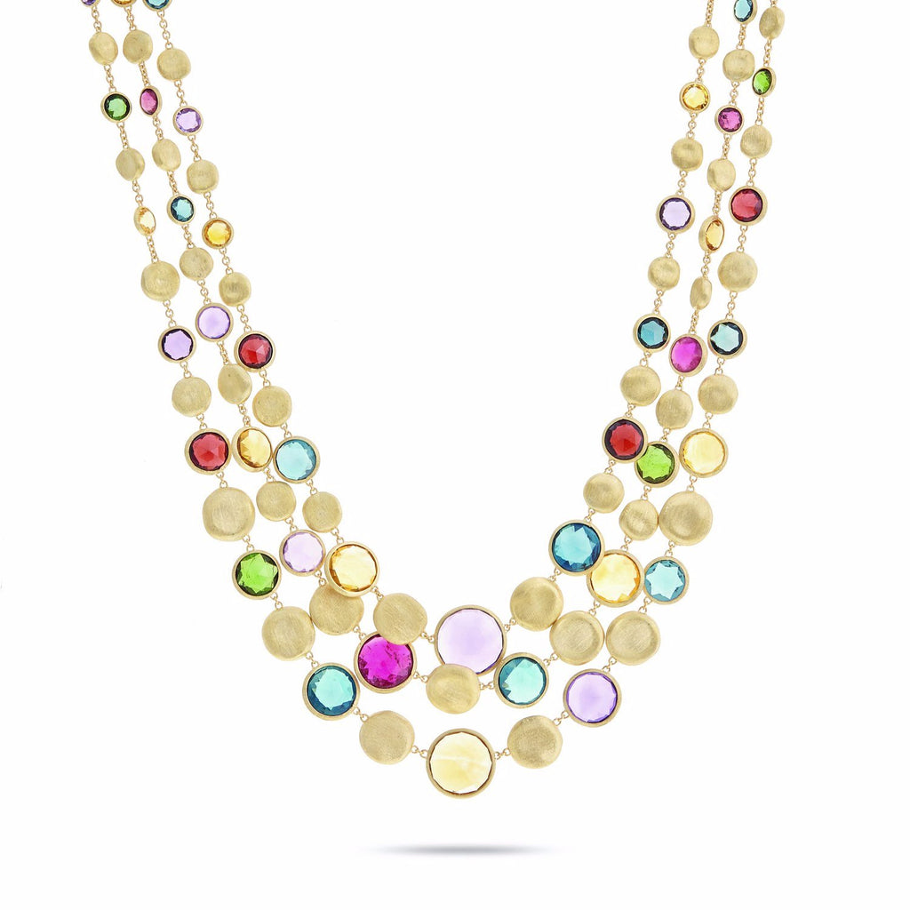 Marco Bicego Jaipur Three Strand Collar with Mixed Elevated Gemstones tfdMK1