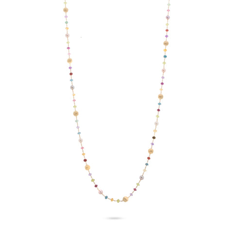 Africa Gemstone and Pearl Long Necklace