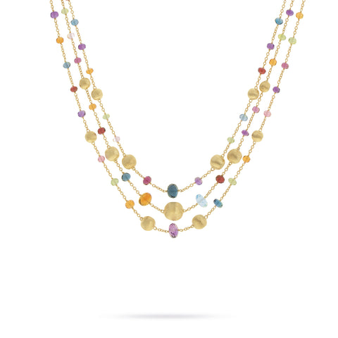 Africa Gemstone 18K Yellow Gold Mixed Gemstone Triple Strand Necklace