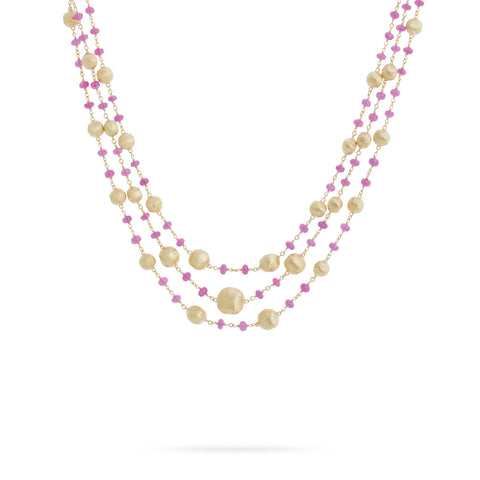 Africa Ruby Three Strand Necklace