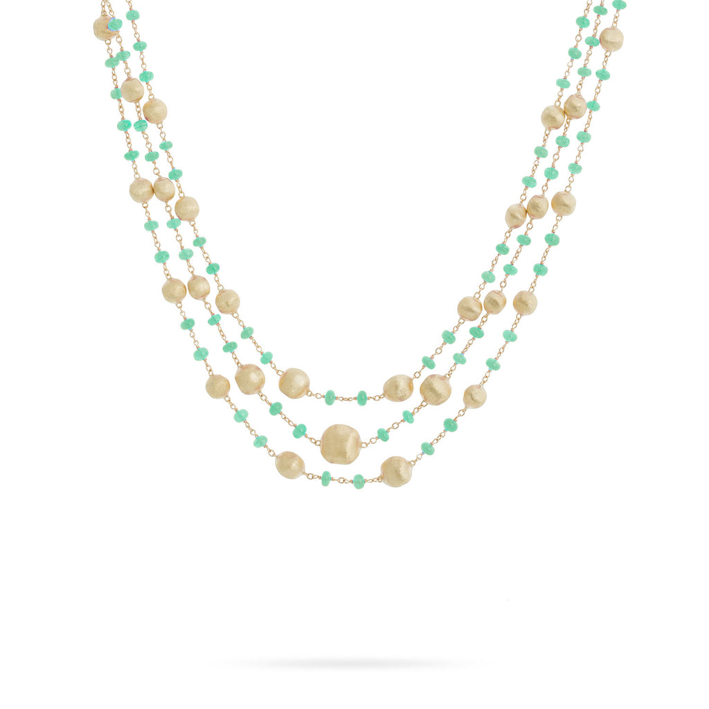 Africa 18K Yellow Gold and Emerald Three Strand Necklace
