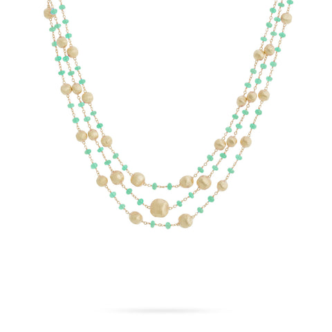 Africa Emerald Three Strand Necklace