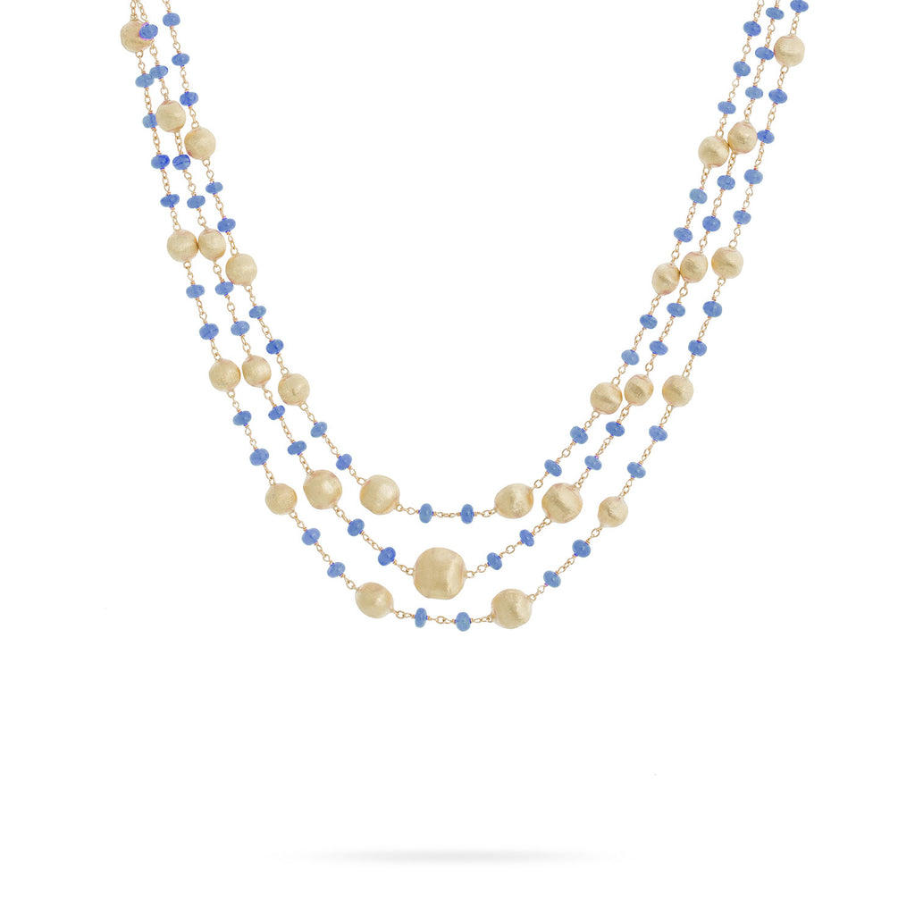 Marco Bicego® Africa Collection 18K Yellow Gold and Sapphire Three Strand Necklace