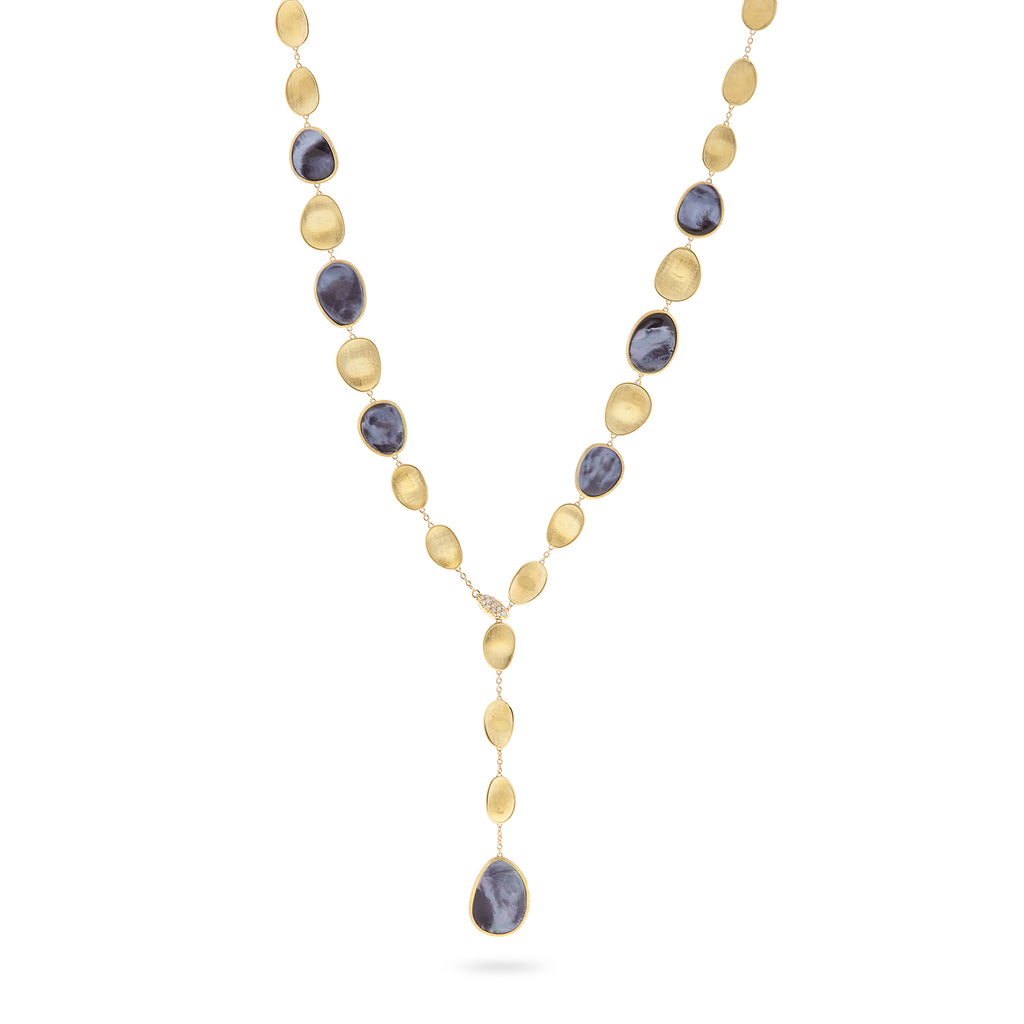 Marco Bicego® Lunaria Collection 18K Yellow Gold Black Mother of Pearl with Diamond Pave Clasp Lariat