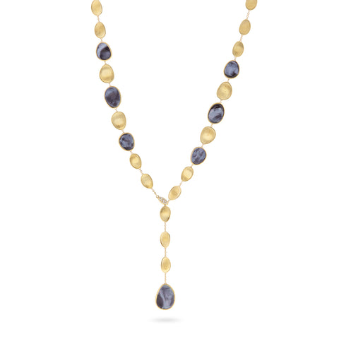 Lunaria Black Mother of Pearl with Diamond Pave Clasp Lariat