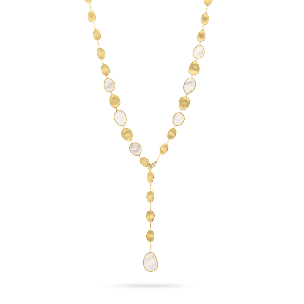 Marco Bicego® Lunaria Collection 18K Yellow Gold and Diamond White Mother of Pearl Lariat