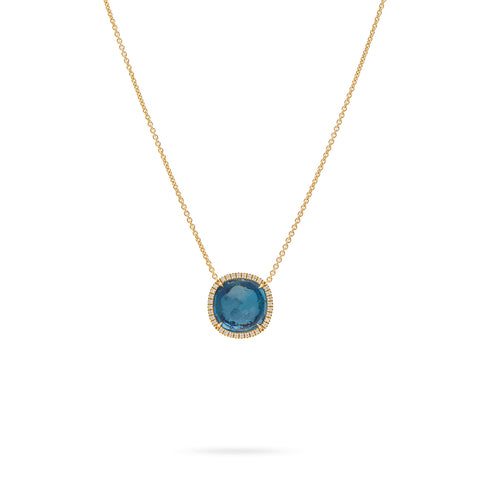 Marco Bicego® Jaipur Color Collection 18K Yellow Gold London Blue Topaz and Diamond Pendant Necklace