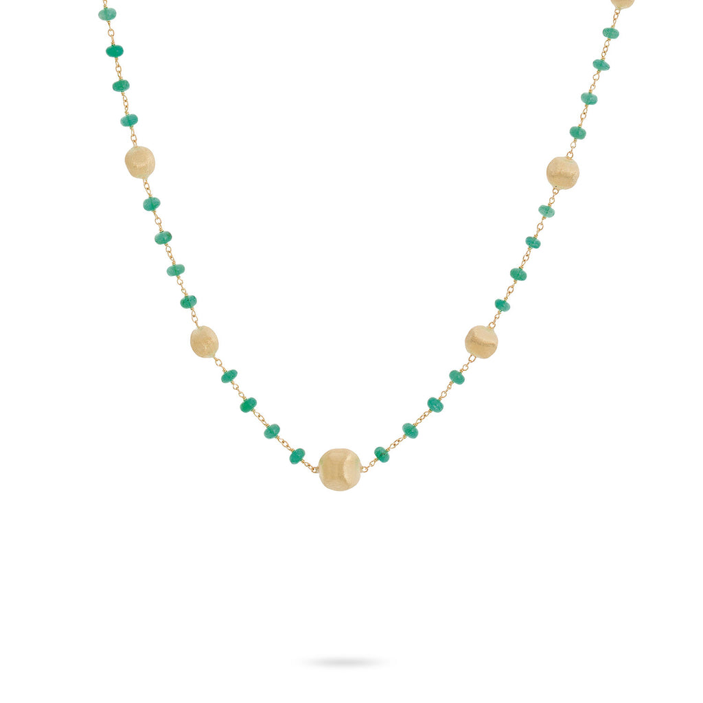 Africa 18K Yellow Gold and Emerald Single Strand Necklace