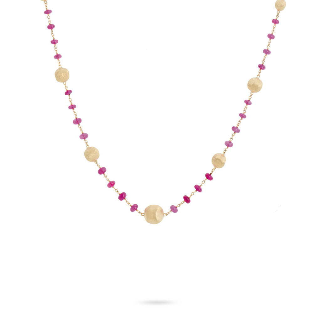 Marco Bicego® Africa Collection 18K Yellow Gold and Ruby Single Strand Necklace