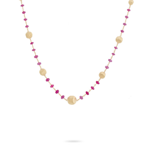 Africa 18K Yellow Gold and Ruby Single Strand Necklace