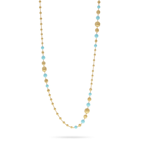 Africa Turquoise Gold and Turquoise Long Necklace