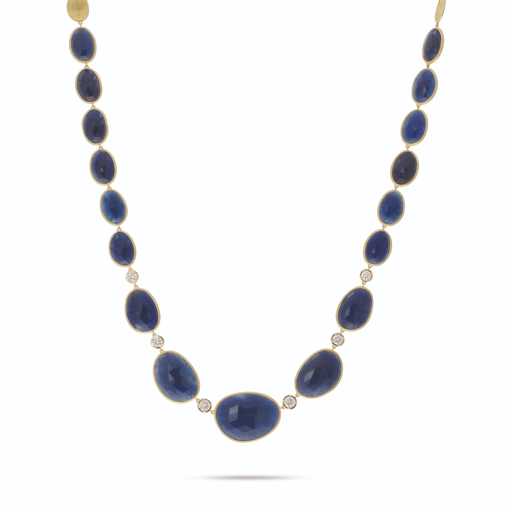 Marco Bicego® Unico Collection 18K Yellow Gold Blue Sapphire and Diamond Necklace