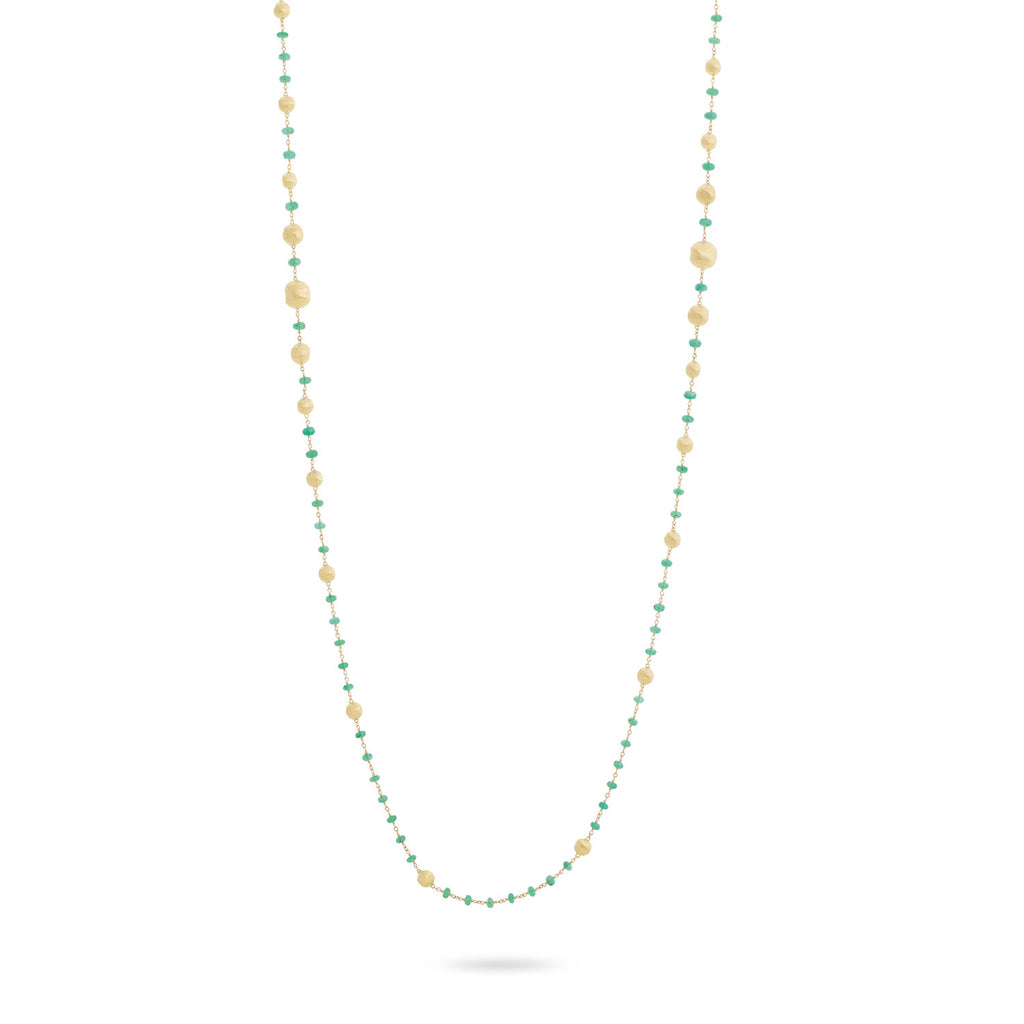 Marco Bicego® Africa Collection 18K Yellow Gold and Emerald Long Necklace