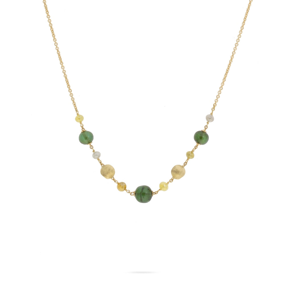 Marco Bicego® Unico Collection 18K Yellow Gold Rough Diamond and Green Tourmaline Half Necklace