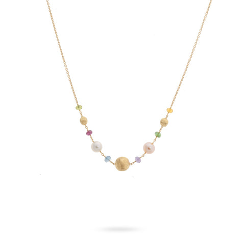 Africa Gemstone 18K Yellow Gold Mixed Gemstone and Pearl Necklace