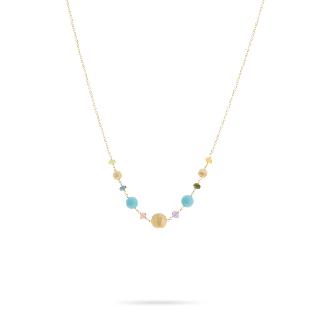 Africa Gemstone 18K Yellow Gold Mixed Gemstone and Turquoise Necklace