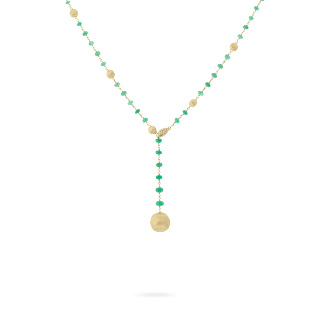 Marco Bicego® Africa Collection 18K Yellow Gold and Emerald Lariat