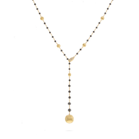 Africa 18K Yellow Gold and Black Diamond Lariat
