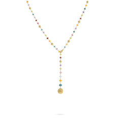 Africa Gemstone 18K Yellow Gold Mixed Gemstone Lariat