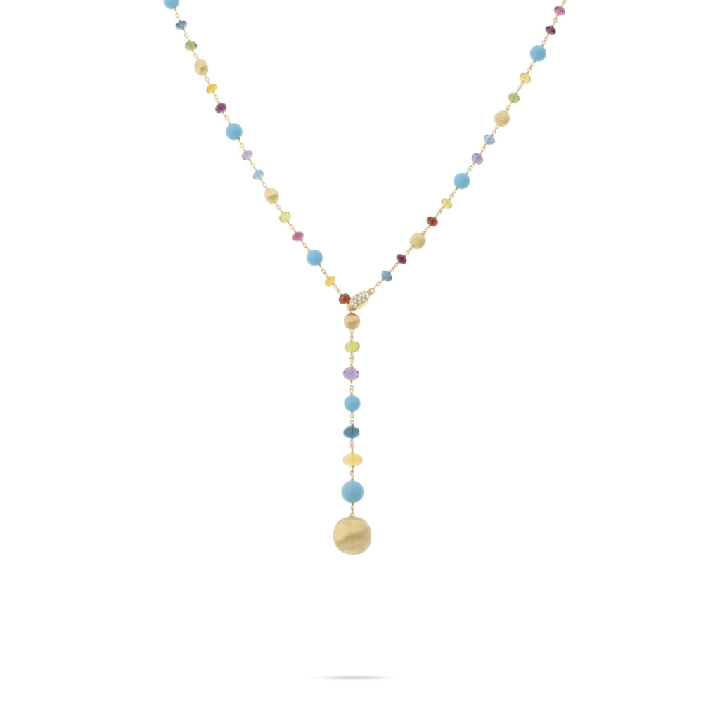 Marco Bicego® Africa Collection 18K Yellow Gold Mixed Gemstone and Turquoise Lariat