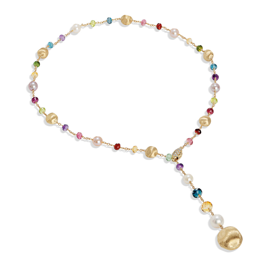 Marco Bicego® Africa Collection 18K Yellow Gold Mixed Gemstone and Pearl Lariat