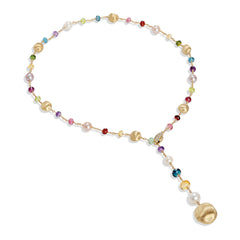 Marco Bicego® Africa Collection 18K Yellow Gold Mixed Gemstone and Pearl Lariat image 1