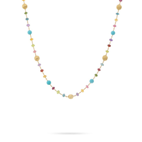 Africa Gemstone 18K Yellow Gold Mixed Gemstone and Turquoise Short Necklace