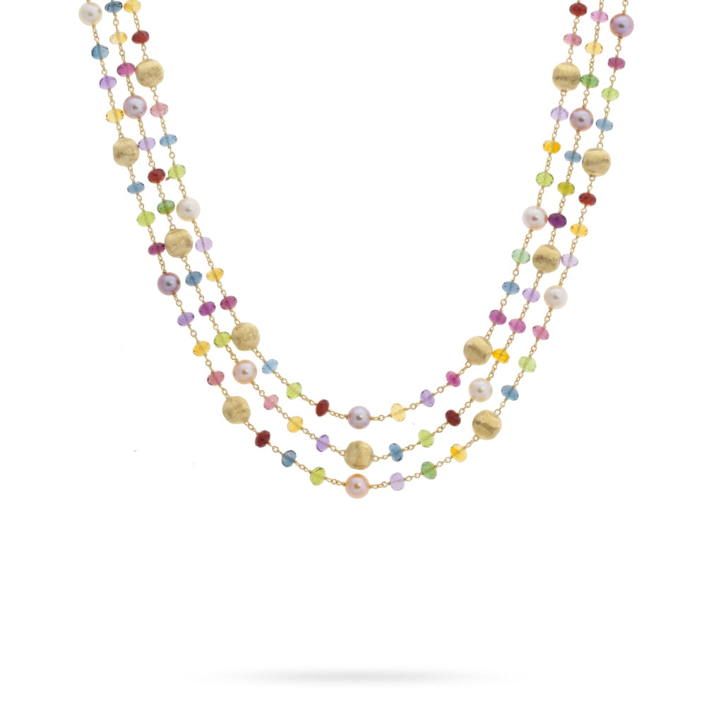 Africa Gemstone 18K Yellow Gold Mixed Gemstone and Pearl Triple Strand Necklace