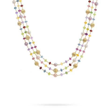 Africa Gemstone and Pearl Triple Strand Necklace