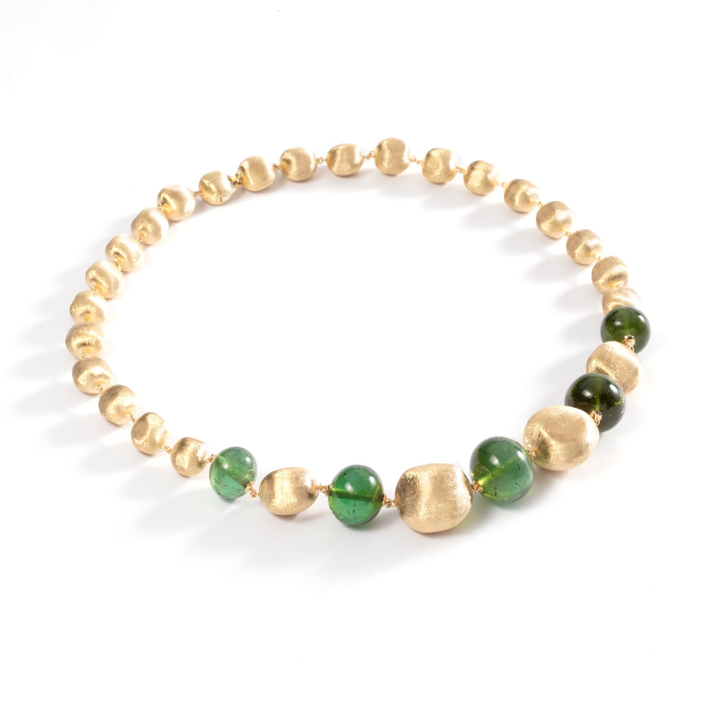 Marco Bicego® Unico Collection 18K Yellow Gold and Green Tourmaline Collar