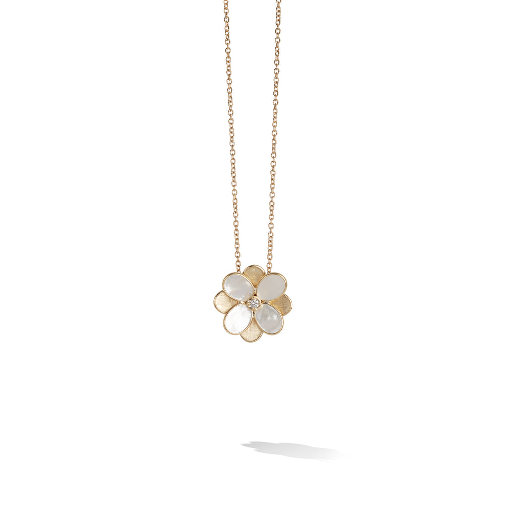 Marco Bicego® Petali Collection 18K Yellow Gold and White Mother of Pearl Small Flower Pendant