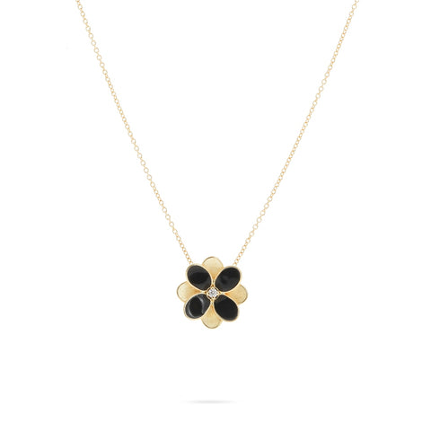 Marco Bicego® Petali Collection 18K Yellow Gold and Black Enamel Small Flower Pendant