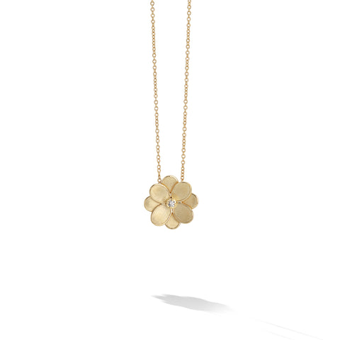 Marco Bicego® Petali Collection 18K Yellow Gold and Diamond Small Flower Pendant