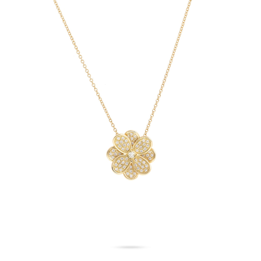 Marco Bicego® Petali Collection 18K Yellow Gold and Full Pave Small Flower Pendant