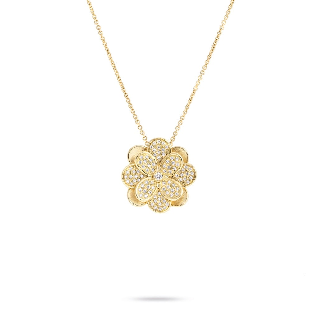 Marco Bicego® Petali Collection 18K Yellow Gold and Diamond Pave Large Flower Pendant