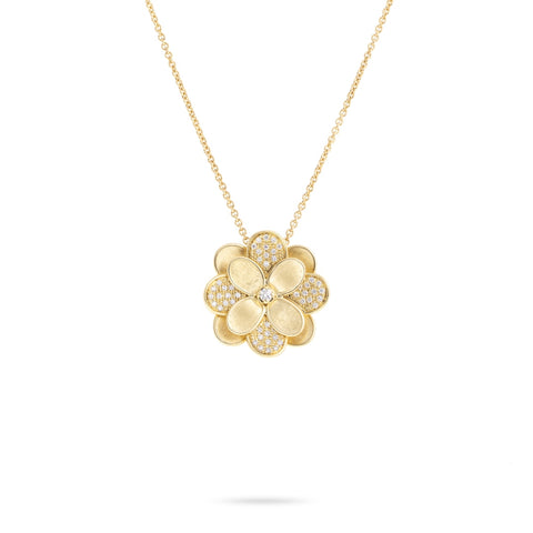Marco Bicego® Petali Collection 18K Yellow Gold and Pave Large Flower Pendant