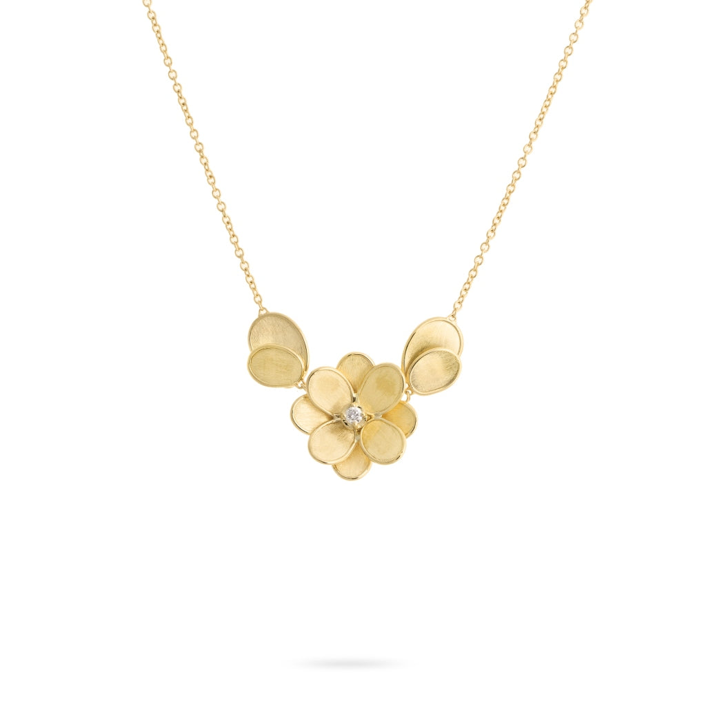 Marco Bicego® Petali Collection 18K Yellow Gold and Diamond Small Flower Pendant With Leaves