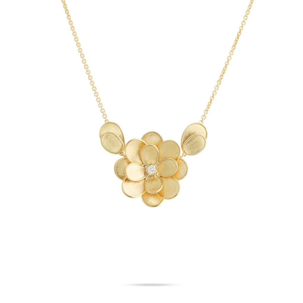 Marco Bicego® Petali Collection 18K Yellow Gold and Diamond Large Flower Pendant With Leaves