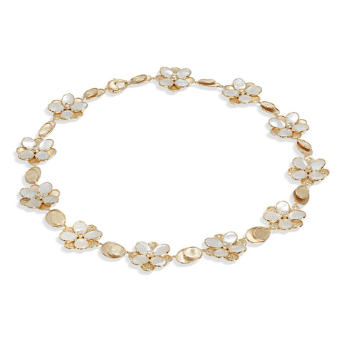 Marco Bicego® Petali Collection 18K Yellow Gold Mother of Pearl and Diamond Flower Collar