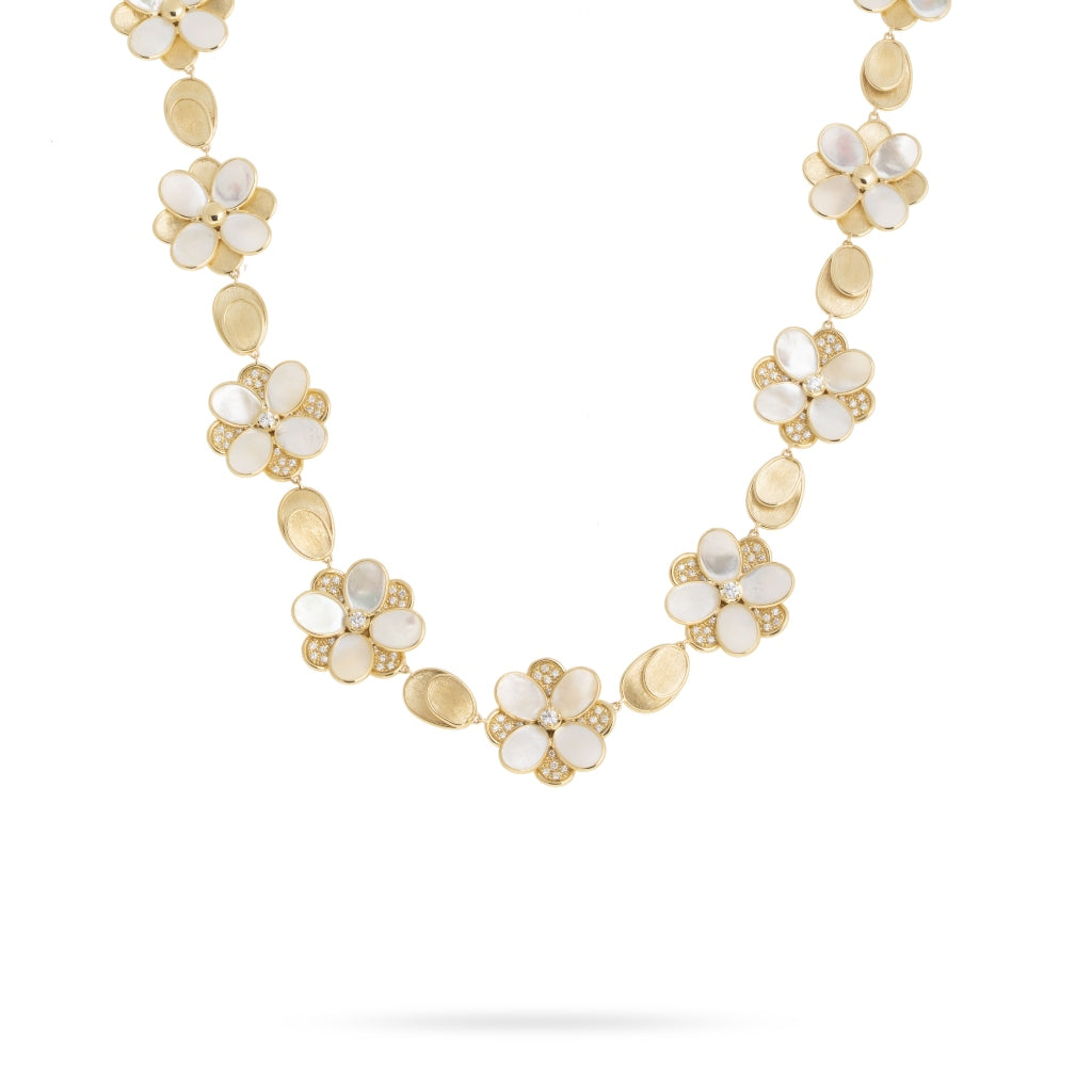 Marco Bicego® Unico Collection 18K Yellow Gold Mother of Pearl and Diamond Petali Necklace