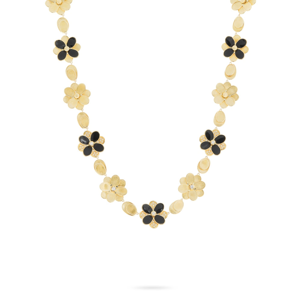 Marco Bicego® Petali Collection 18K Yellow Gold Black Enamel and Diamond Flower Collar